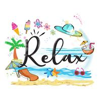 Entspannen Sie sich Wort mit Sommereinzelteilen