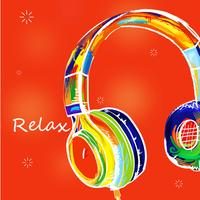 Drawn colorful Headphone vector