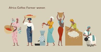 Female coffee farmer character set.