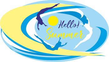 Hello summer.Lettering. Sea. waves. surfers. Seascape. Design for travel and vacation. Vector.