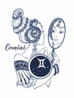 Zodiac sign Gemini a beautiful girl. Horoscope. Astrology. Vector.