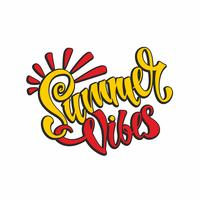 Summer vibes. Lettering. Card. Calligraphy. Stylish inspirational inscription. Vector.