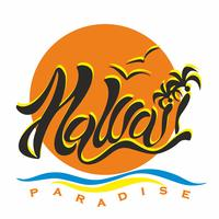 Hawaii. Paradise. Lettering. Stylish inscription on the background of the setting sun. Romantic image of Paradise. For advertising travel. The design of tourist brochures and leaflets. Vector.