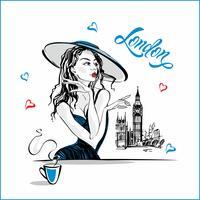 Flickan i hatten dricker kaffe. Modemodell i London. Big Ben. Romantisk komposition. Elegant modell på semester. Semester. Turistnäringen. Vektor.