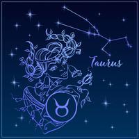 Signo del zodiaco Tauro como una niña hermosa. La constelación de tauro. Cielo nocturno. Horóscopo. Astrología. Vector.