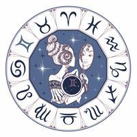 Zodiac tecken Gemini en vacker tjej. Horoskop. Astrologi. Vektor.