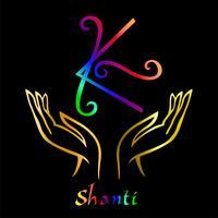 Karuna Reiki. Cura energética. Medicina alternativa. Símbolo Shanti. Prática espiritual. Esotérico. Palma aberta. Cor do arco-íris. Vetor