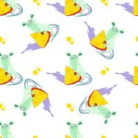 Mouse with cheese. Seamless pattern. Cartoon-style. Vector