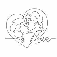 Continuous line drawing - a couple of kisses. Loving man and woman. Heart. Love. Valentine card . Vector.