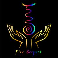 Karuna Reiki. Energy healing. Alternative medicine. Symbol Fire Serpent. Spiritual practice. Esoteric.Open palm. Rainbow color. Vector