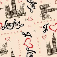 Sömlöst mönster. Jag älskar London. England. Text. Hjärta. Big Ben. Skiss. Vektor.