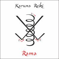 Karuna Reiki. Energía curativa. Medicina alternativa. Símbolo de Rama. Práctica espiritual. Esotérico. Vector