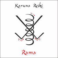 Karuna Reiki. Energieheilung. Alternative Medizin. Rama-Symbol. Spirituelle Praxis. Esoterisch. Vektor