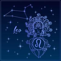 Zodiac sign Leo a beautiful girl. The Constellation of Leo. Night sky. Horoscope. Astrology. Vector.