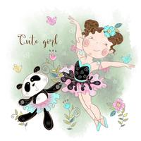 Little ballerina dancing with Panda ballerina. Cute girl. Inscription. Vector illustration