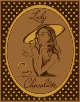 Hot chocolate. The label for the drink. Retro image. Elegant girl in a hat. Vintage. Frame with polka dots. Vector.