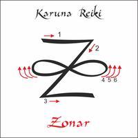 Karuna Reiki. Energieheilung. Alternative Medizin. Zonar Symbol. Spirituelle Praxis. Esoterisch. Vektor