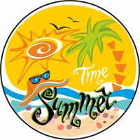 Summer time. Lettering.  Greeting. Sun, seagulls. Sun hat and sunglasses.  Sea and palm trees. Design concept for tourism. Vector.
