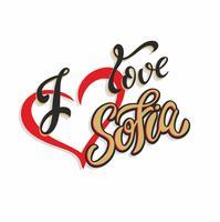 Jag älskar Sofia. Bulgarien. Text. Turistkort. Turistnäringen. Hjärta. Vektor.