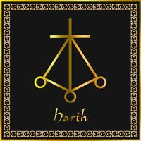 Karuna Reiki. Energía curativa. Medicina alternativa. Símbolo de Harth. Práctica espiritual. Esotérico. Dorado.vector