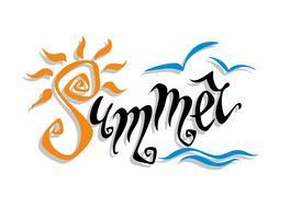 Été. Lettrage Salutation. Soleil, mer, mouettes. Concept de design pour le tourisme. Vecteur.