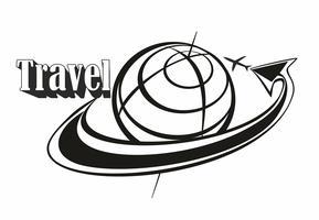 Resa. Inskrift. Logotyp. Flyger runt om i världen. Flygplan. Pil. Koncept för turistnäringen. Svart vit. Vektor.