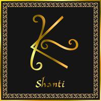 Karuna Reiki. Energy healing. Alternative medicine. Shanti Symbol. Spiritual practice. Esoteric. Golden. Vector
