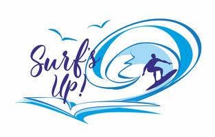 Surf's up .Surfing. Lettering. ILogo. t's time to rest and travel. Seascape. Wave. Gulls. Vector illustration.
