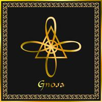 Karuna Reiki. Guérison énergétique. Médecine douce. Symbole gnosa. Pratique spirituelle. Ésotérique. D'or. Vecteur