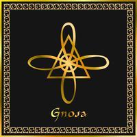 Karuna Reiki. Energía curativa. Medicina alternativa. Símbolo de Gnosa. Práctica espiritual. Esotérico. Dorado. Vector