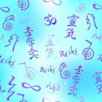 Seamless border with Reiki energy symbols. Esotericist. Energy healing. Alternative medicine. Vector