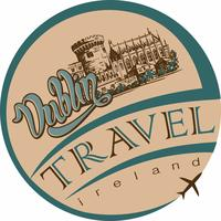 Travel. Trip to Ireland. Design promotional stickers for the tourism industry. Dublin. Sketch of Dublin castle. Aircraft. Vector.