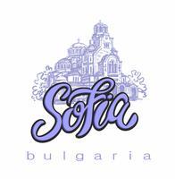 Catedral de San Alexander Nevsky. Sofía, Bulgaria. Bosquejo. Letras. Industria del turismo. Viajar. Vector.