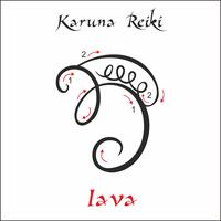 Karuna Reiki. Energía curativa. Medicina alternativa. Símbolo Iava. Práctica espiritual. Esotérico. Vector