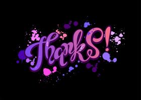 Thanks. Lettering. Rainbow. Blots. Inspirational writing. Postcard. Black background. Vector. vector