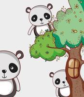 Ursos panda em desenhos de doodle de floresta