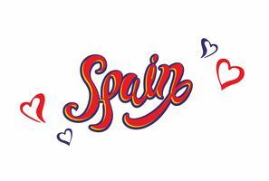 Spanje. Lettering.Travel. Het ontwerpconcept voor de toeristenindustrie. Vector illustratie.