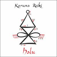 Karuna Reiki. Energie genezing. Alternatief medicijn. Halu-symbool. Spirituele oefening. Esoteric. Vector