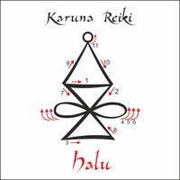Karuna Reiki. Cura energética. Medicina alternativa. Símbolo Halu. Prática espiritual. Esotérico. Vetor