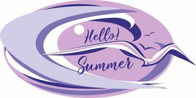 Hallo Sommer. Beschriftung. Meer. Welle. Möwen. Seelandschaft. Design für Reisen und Urlaub. Vektor.