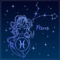 Zodiac sign Pisces as a beautiful girl. The Constellation Of Pisces. Night sky. Horoscope. Astrology. Vector. vector