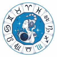The Scorpio astrological sign as a beautiful girl. Horoscope. Astrology. Vector.