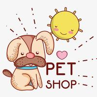 Cane in cartoni animati carini giorno soleggiato