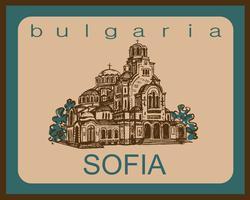 Viajar. Bulgaria. Sofía. Bosquejo. La Catedral de San Alexander Nevsky. Industria del turismo. Vacaciones. Vector.