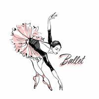 Bailarina en tutú de ballet rosa. Bailarina en una hermosa pose. Ballet. Inscripción. Ilustracion vectorial