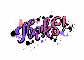 Thanks. Lettering. Rainbow. Blots.  Inspirational writing. Postcard.  Vector. vector