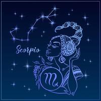 Segno zodiacale Scorpione come una bella ragazza. La costellazione dello scorpione. Cielo notturno. Oroscopo. Astrologia. Vettore.
