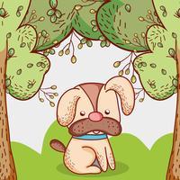 Hund i parken Doodle tecknad