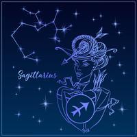 Sternzeichen Schütze ein schönes Mädchen. Das Sternbild Schütze. Nachthimmel. Horoskop. Astrologie. Vektor.