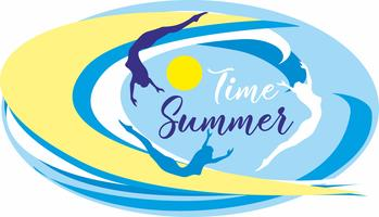 Time summer.Lettering. Sea. waves. surfers. Seascape. Design for travel and vacation. Vector.